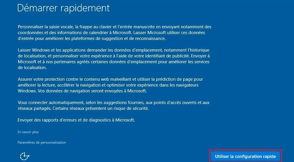 Configuration rapide de Windows