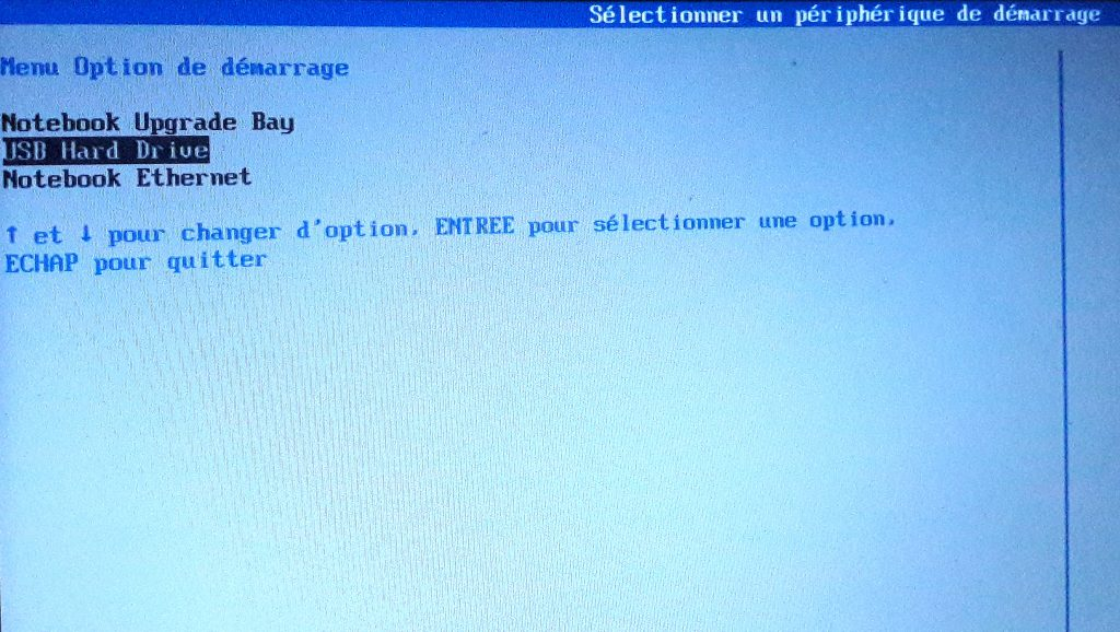 Menu boot sur HP